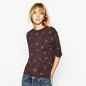 Zara Collection Top With Rose Gold Glitter Detail